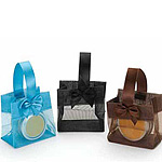 Sheer Square Totes w/Satin Handle and Bows