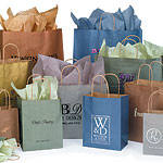 Paper Bags w/Twisted Paper Handles, Metallic Colors On Kraft Base