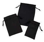 Black Micro -Fiber Drawstring Jewelry Pouches