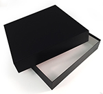 12 1/2 x 12 1/2 x 2 1/2 Black Leatherette w/ Black Base Photo Boxes