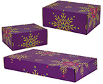 Purple Snowflakes Side Seal Shipping Boxes