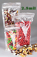 Clear Stand Up Re-Sealable Zipper Pouches, FDA Approved