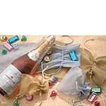 Sheer Metallic Rat Tail Cord Gift and Wine Pouches