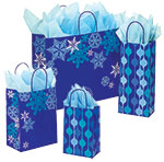 Snowflake Swirl Waterfall Paper Shopping Bags