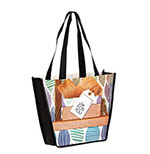 Custom 12x4x10 Dye Sub Full Color Trapazoid NonWoven PET Bags