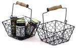 Brown 7 in Wire Basket Wood Handle