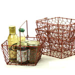 Square Red 8 1/2in Wire Basket