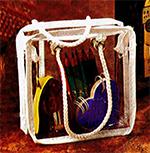 6 x 8 x 1 1/2 Vinyl Bags w/Double Rope Handle