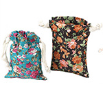 Vintage Floral Cotton Drawstring Pouches