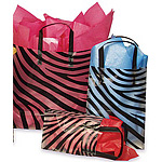 Zebra Pattern Frosted Plastic Bag w/Loop Handles