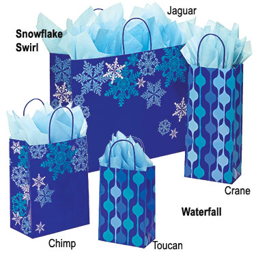 Snowflake Swirl Waterfall Paper Shopping Bags