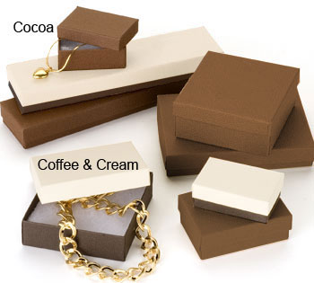 Coffee Color Shaded 2 Piece Set Up Jewelry Box w/Fiber Insert