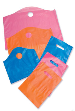 Colored Frost-Tint Die Cut Handle Plastic Bags