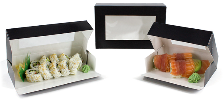 Black Gloss Windowed Sushi Take-out Boxes