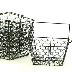 Square Black 8 1/2in Wire Basket