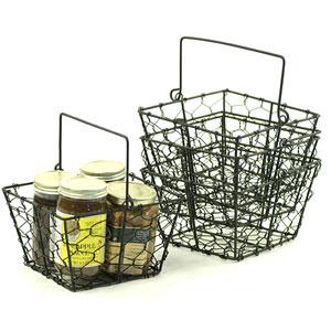 6in Black Wire Square Basket