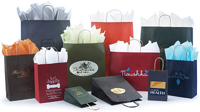 Paper Bags w/Twisted Paper Handles, Tinted Colors on Kraft Base