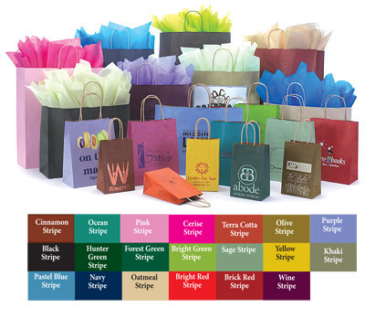 Paper Bags w/Twisted Paper Handles, Varnish Stripe Colors on Kraft Base