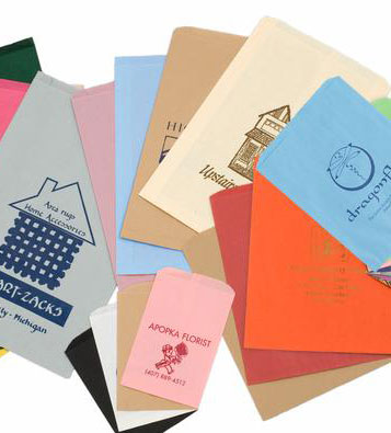 Custom Printed Flat Colored Paper Bags