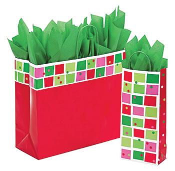 Christmas Check Paper Shopping Bags